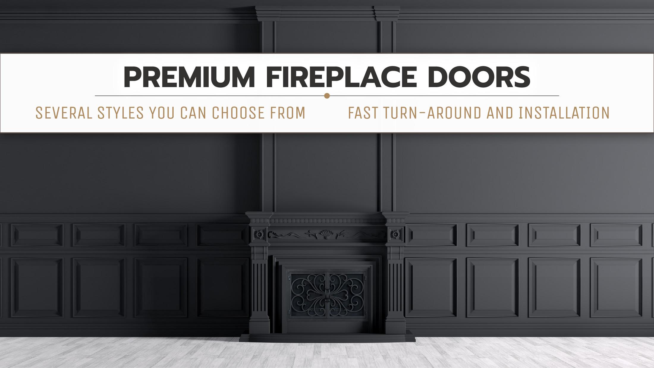 All Black Classic Fireplace Door