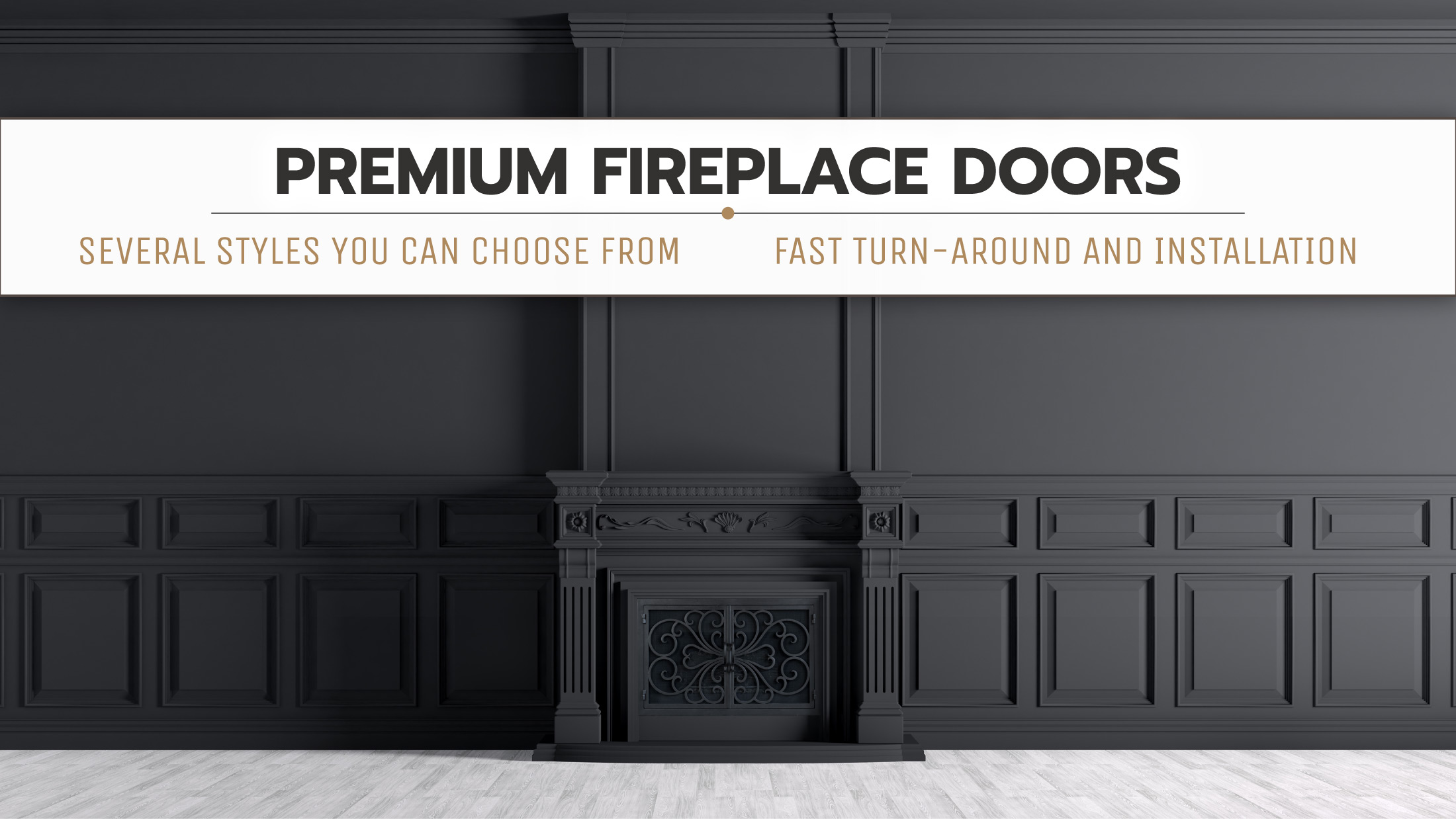 All Black Classic Fireplace Door