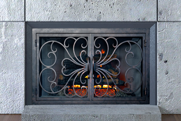 The Wave Fireplace Door classic fireplace door - AMS Fireplace Inc. €� Burn Brilliantly