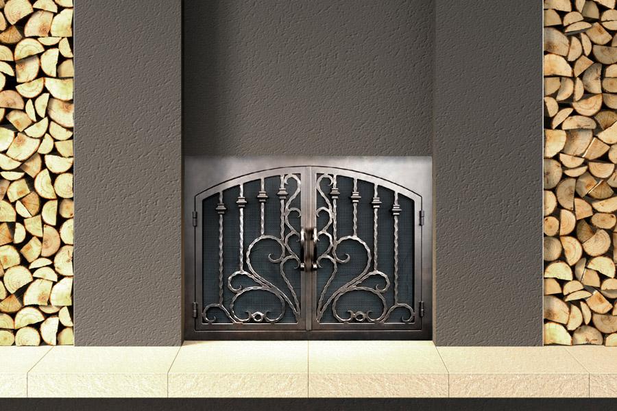 Arcadia #10 Arched Rectangular Fireplace Door