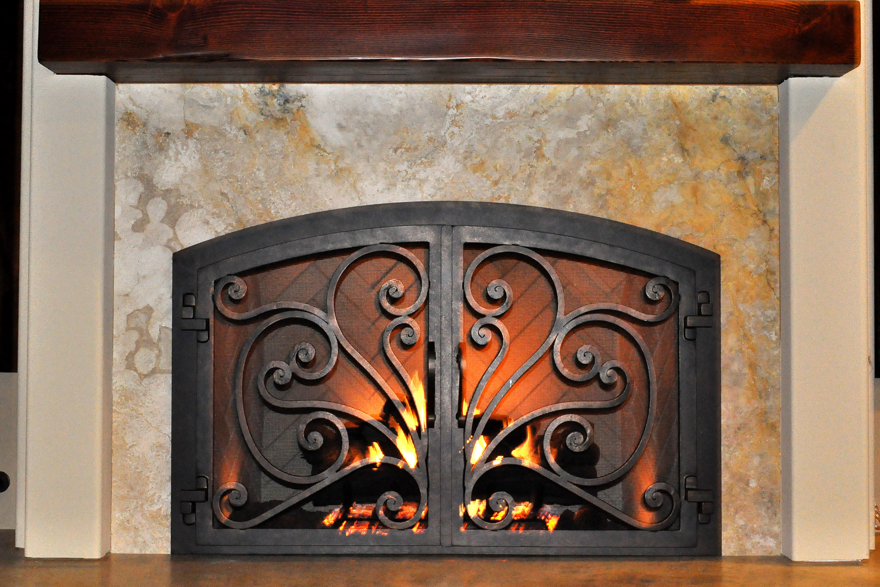 Azalea 6 Arch Fireplace Door
