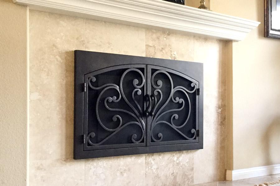 Azalea 6 Arched Rectangular Fireplace Door