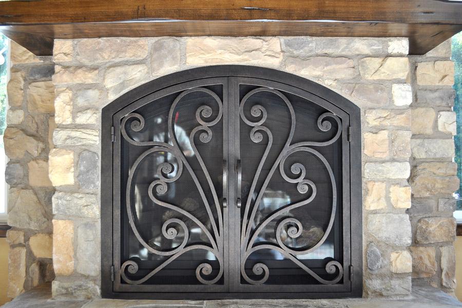 Azalea 6 Arched Fireplace Door