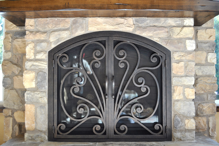 Azalea 6 Arched Fireplace Door