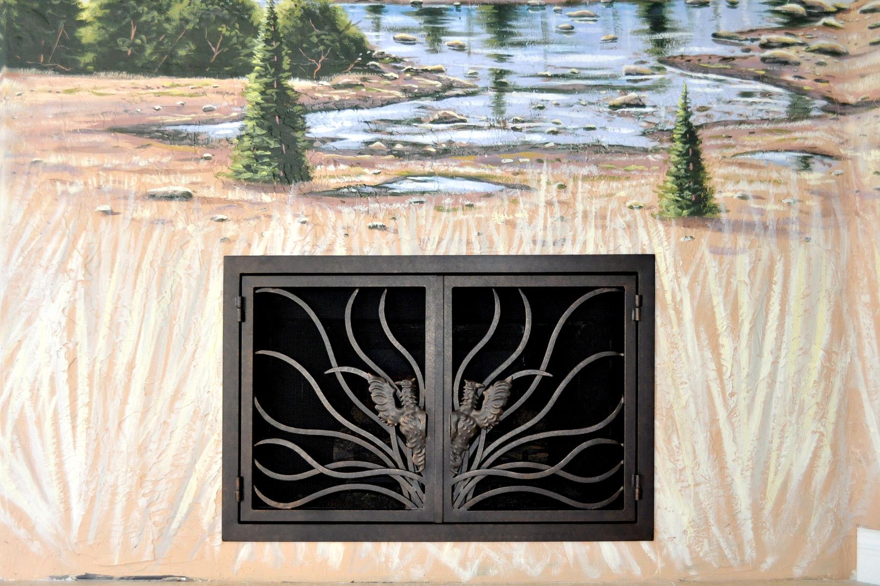 Coral Fireplace Door