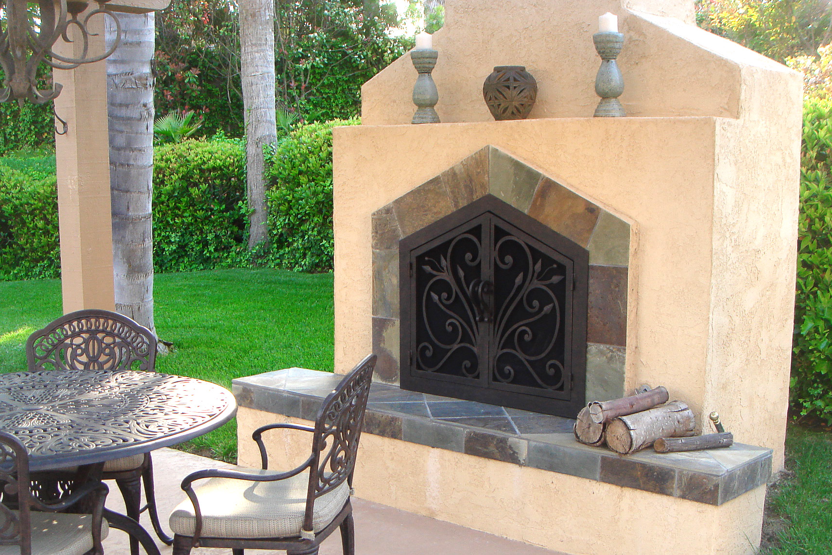 Orchid 4 Arch Fireplace Door