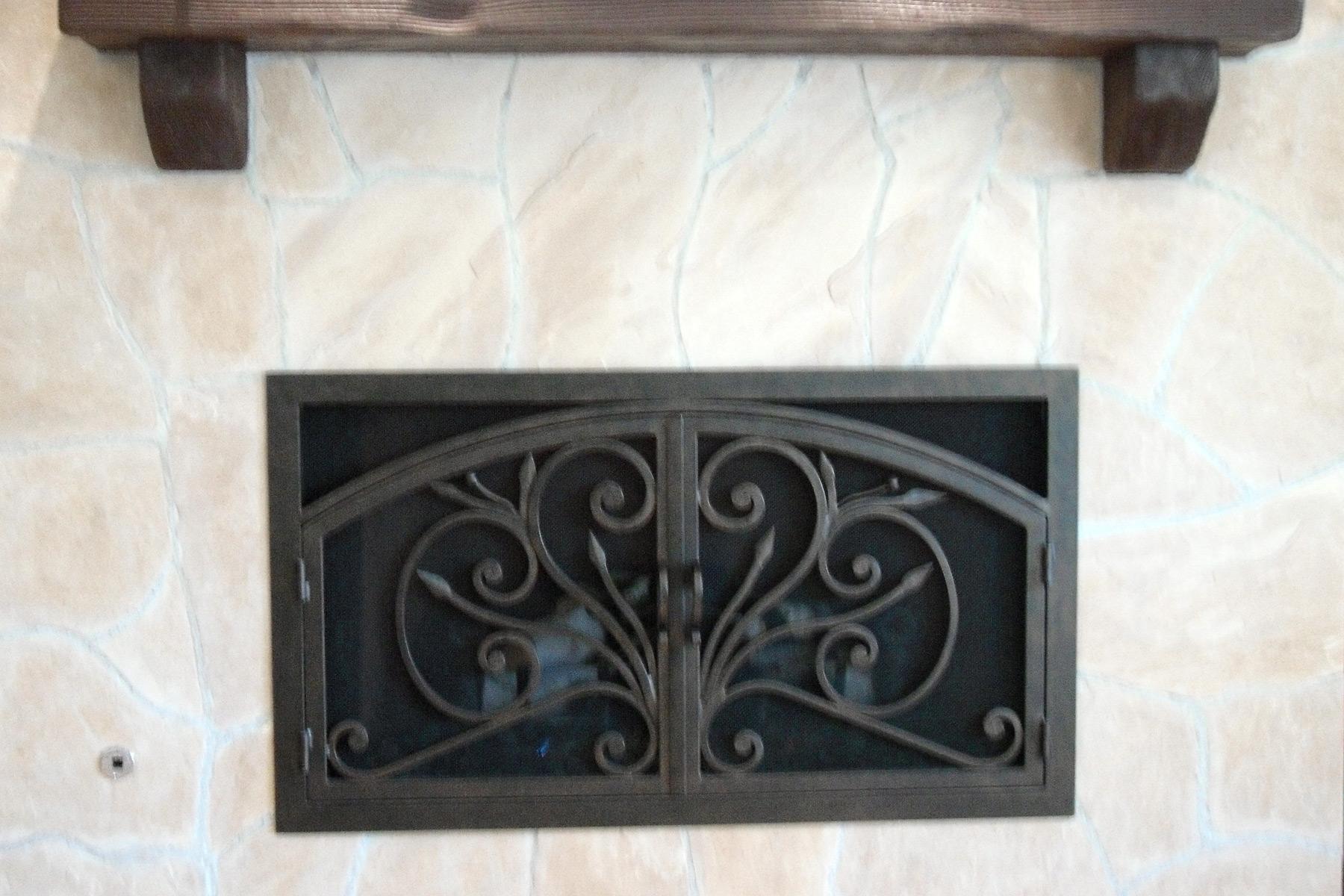 Orchid 4 Arch Rectangular Fireplace Door
