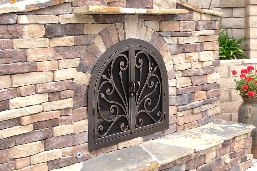 Orchid 4 Arched Fireplace Door
