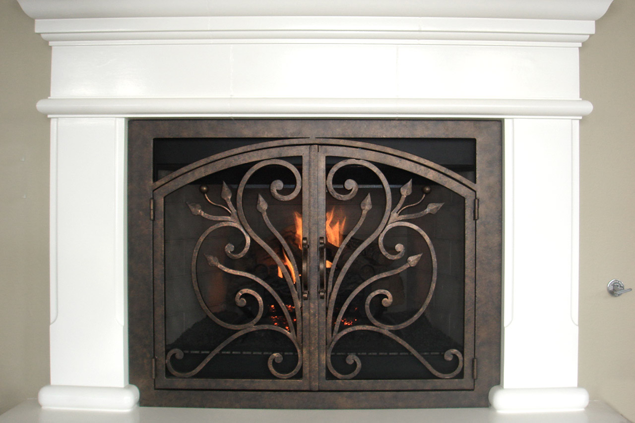 Orchid 4 Arched Rectangular Fireplace Door
