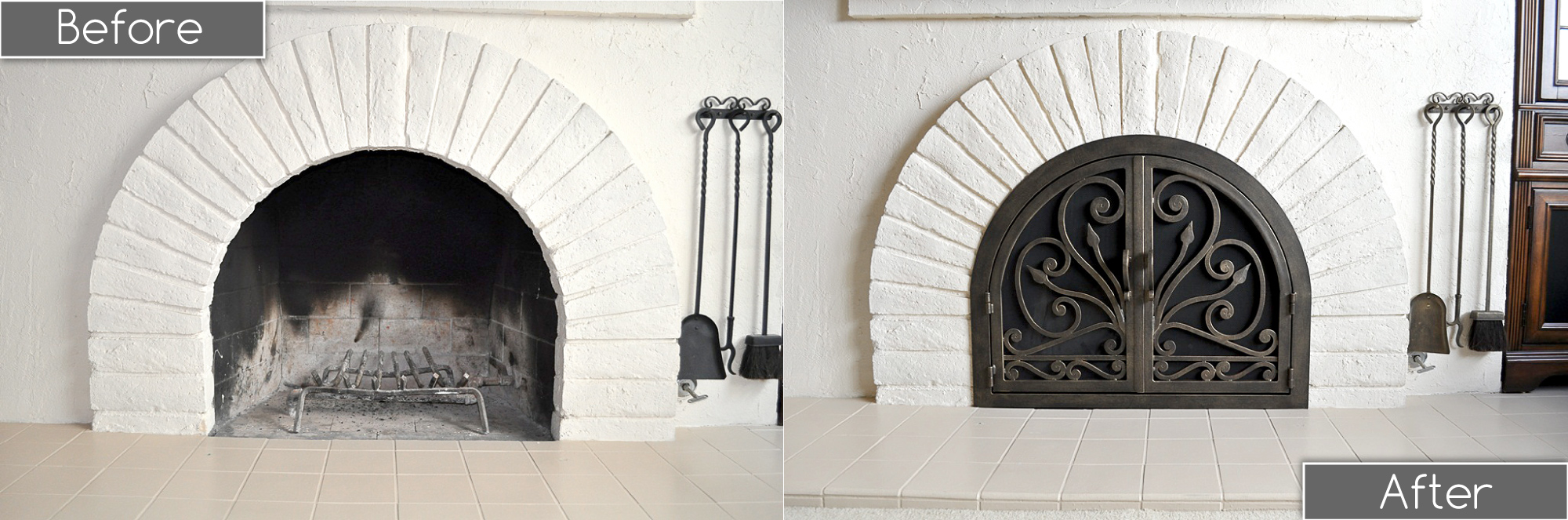 Arched Fireplace Doors Before and After