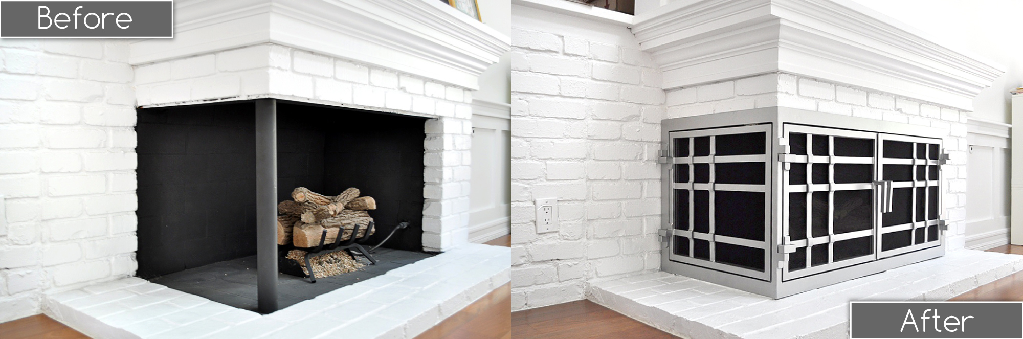 L-Shaped Fireplace Doors Before and After