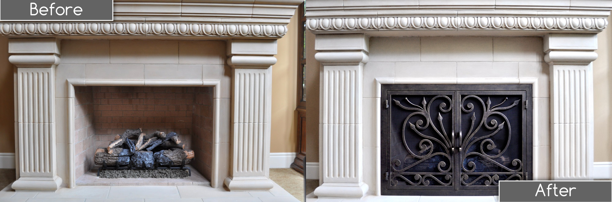 Big Sur 3 Fireplace Door Before and After