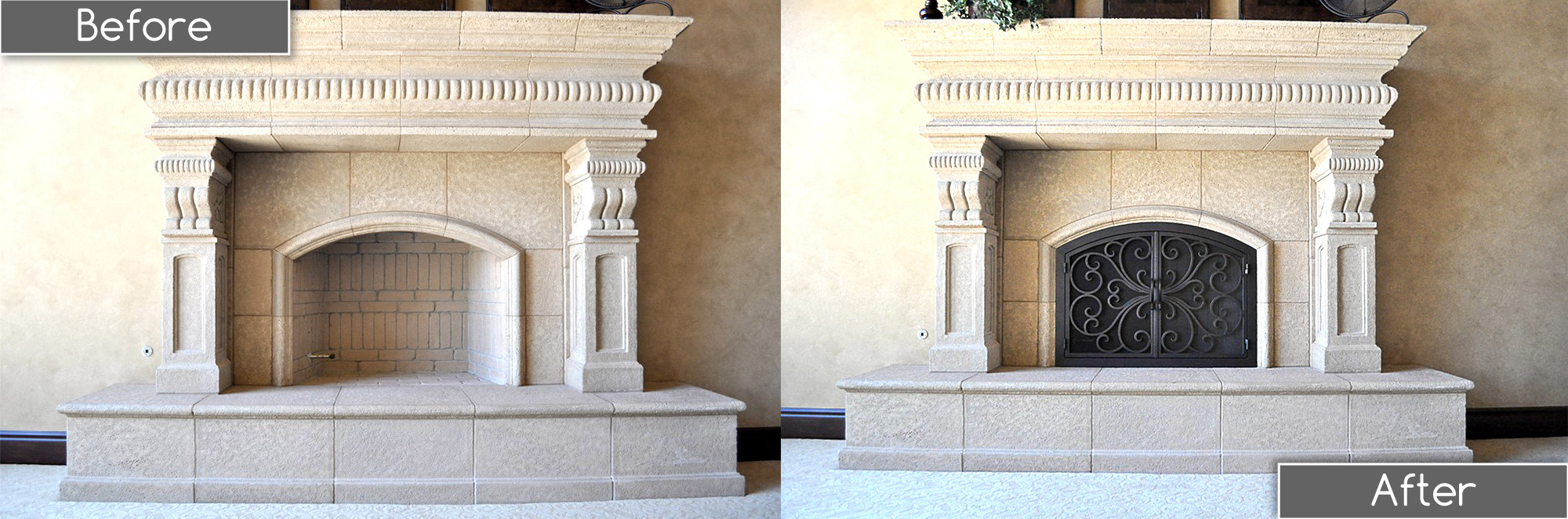 Classic Arch Fireplace Door Before and After