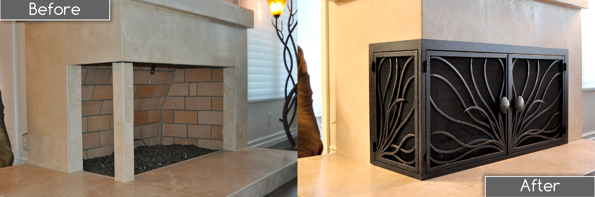 Coral 15 L-Shape Fireplace Door Before and After