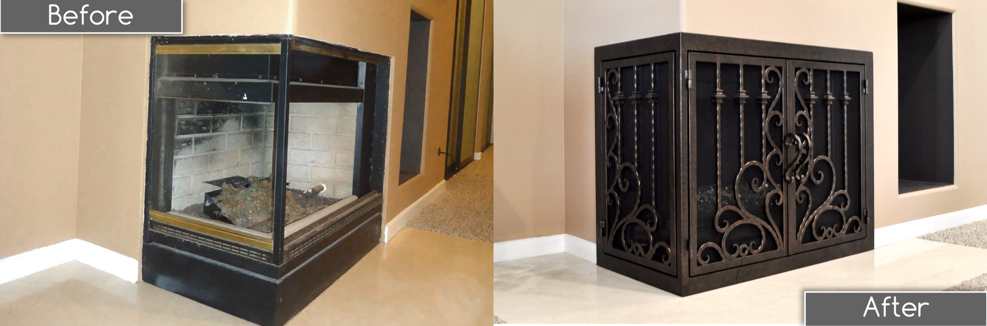 L-Shaped Fireplace Door - Protection 10 Before and After