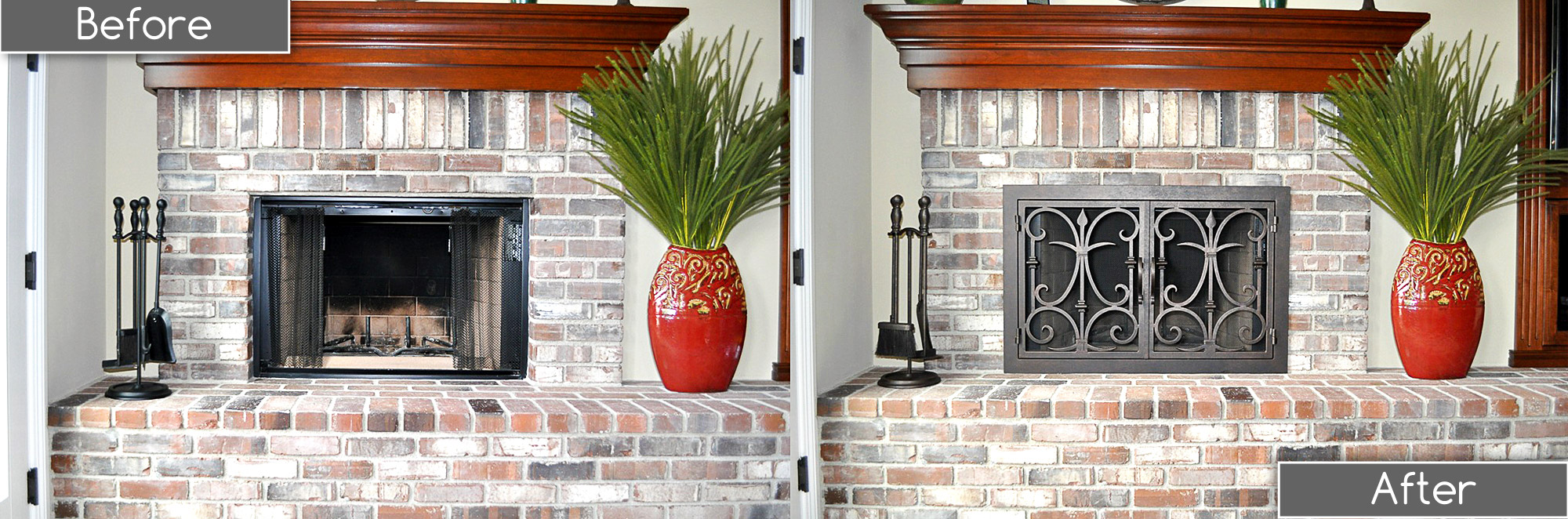 Rectangular Fireplace Door Before After